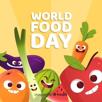 Colorful hand drawn world food day