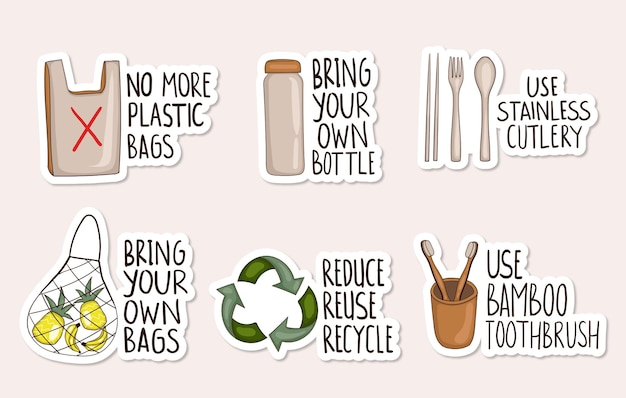 Colorful hand drawn zero waste stickers collection