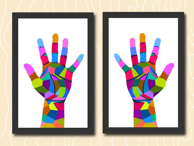 Colorful hand in frame pop art portrait isolated decoration