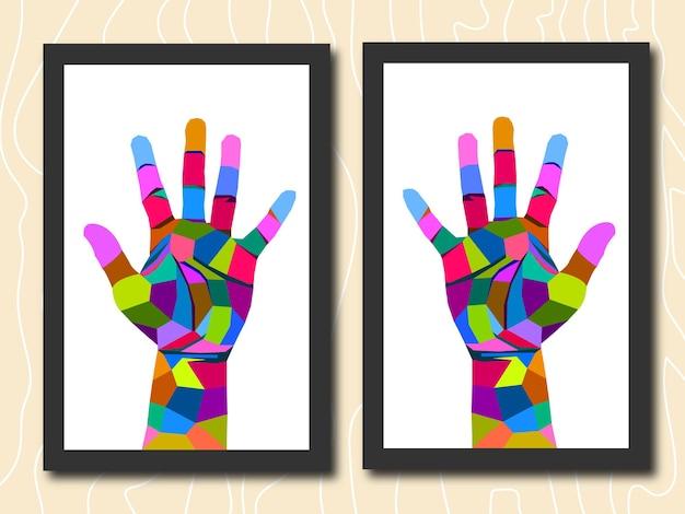 フレームポップアートの肖像画の孤立した装飾のカラフルな手
