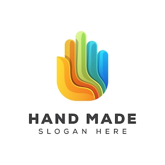 Colorful hand logo, awesome hand made logo, hand care logo design