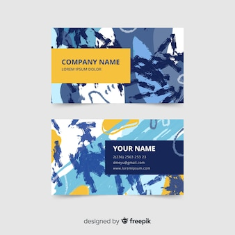 Colorful hand painted business card template