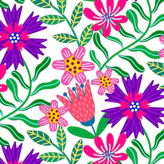 Colorful hand painted exotic floral pattern
