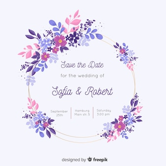 Colorful hand painted floral frame wedding invitation