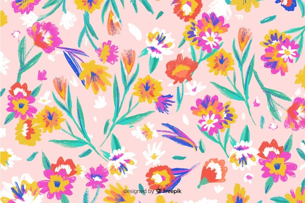 Colorful hand painted flowers background