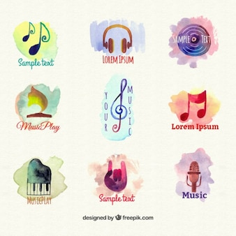 Colorful hand painted music logos