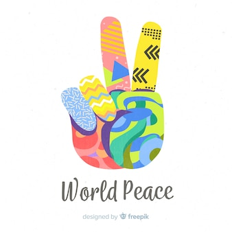 Colorful hand peace sign background