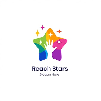 Colorful hand stars logo  template