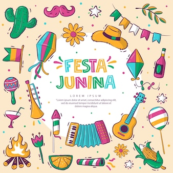 Красочная коллекция handdrawn festa junina