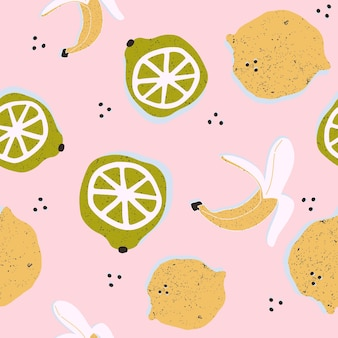 ベクトルのシームレスなパターンでカラフルな手描きのレモンとバナナ