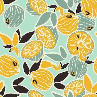 ベクトルのシームレスなパターンでカラフルな手描きのレモンとライム