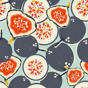 Colorful handdrawn passion fruits and figs in vector seamless pattern