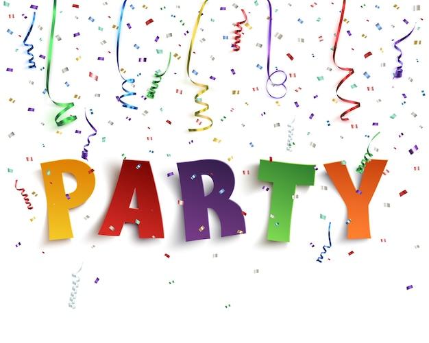 白い背景に紙吹雪とカラフルなリボンでカラフルな手作り書体パーティー。