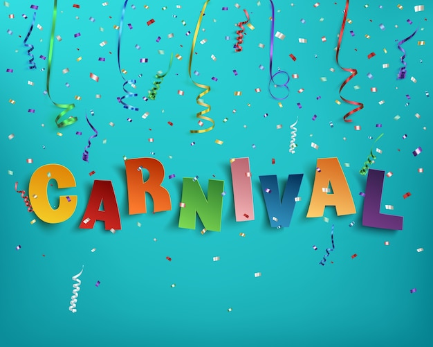Красочный ручной типографский карнавал слова на фоне с лентами и конфетти