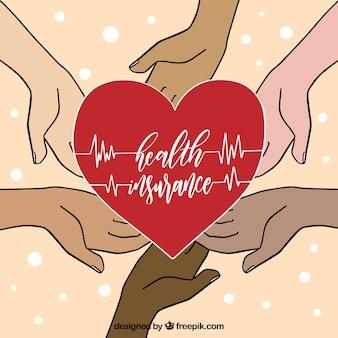 Красочные руки, держащие сердце