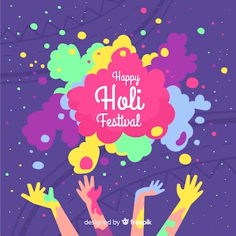 Colorful hands holi fesival background