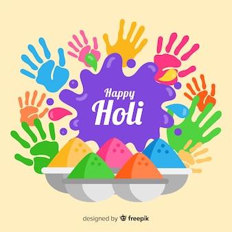 Colorful hands holi festival background