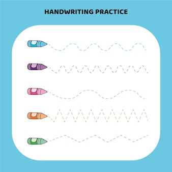 Красочный рабочий лист практики почерка Бесплатные векторы