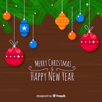 Colorful hanging christmas balls background