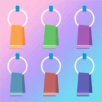 Colorful hanging towel washcloth element icon game asset flat illustration
