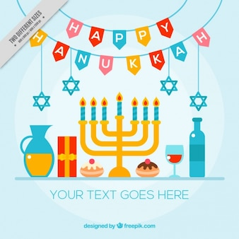 Colorful hanukkah background with candelabra and other items