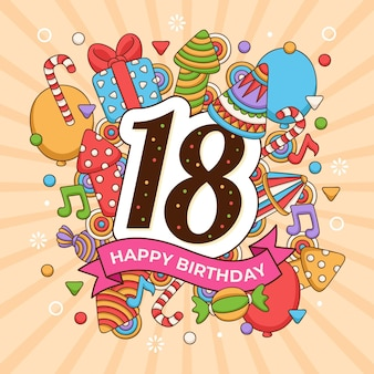 Colorful happy 18th birthday background