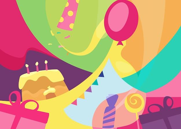 カラフルなお誕生日おめでとうバナー。フラットスタイルのホリデーカードのデザイン。