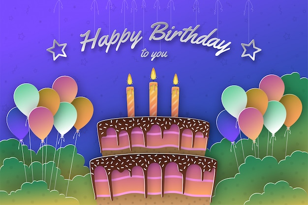Colorful happy birthday greetings with cake and balloons in paper cut out style