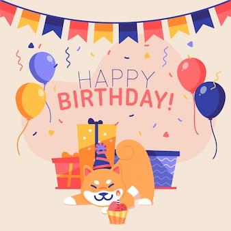 Colorful happy birthday illustration