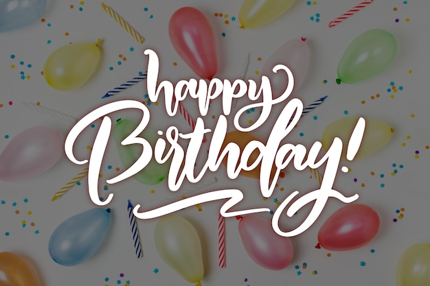 Colorful happy birthday lettering wish concept