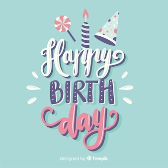 Colorful happy birthday lettering