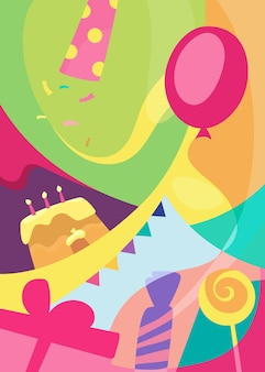 Colorful happy birthday poster. holiday postcard design in flat style.