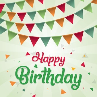 Colorful happy birthday vector design greeting card