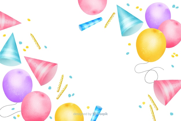 Colorful happy birthday watercolor background