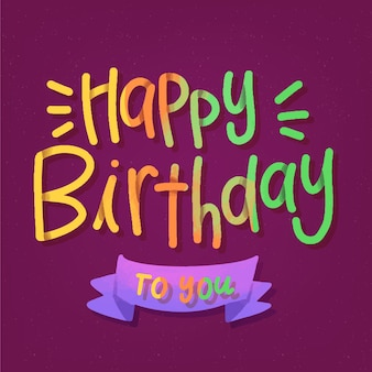 Colorful happy birthday to you lettering