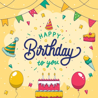 Colorful happy birthday to you poster hand lettering