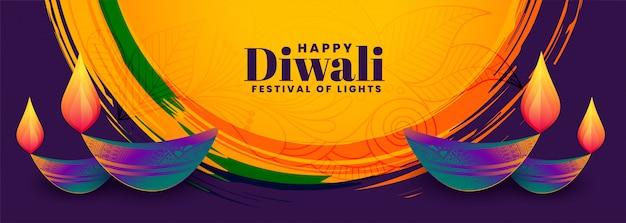 Colorful happy diwali festival diya abstract banner
