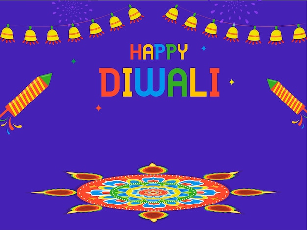 花火のロケット、ランゴーリーまたは曼荼羅のパターンと紫の背景にガーランドの照明とカラフルな幸せなディワリ祭のテキスト。
