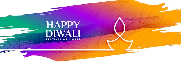 Colorful happy diwali watercolor banner with line diya