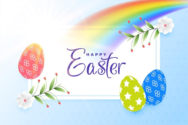 Colorful happy easter background with rainbow