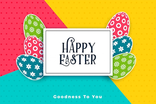 Colorful happy easter festival card with eggs