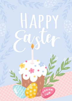 토끼, 토끼, 텍스트와 함께 다채로운 행복 한 부활절 인사말 카드