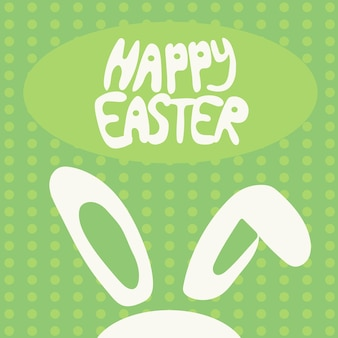 Colorful happy easter greeting card with rabbit, bunny and text on green background