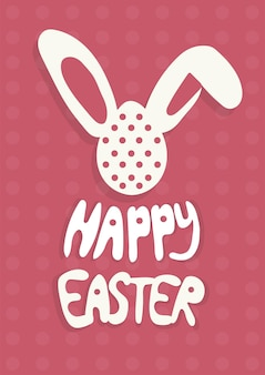 Colorful happy easter greeting card with rabbit, bunny and text on red background a4