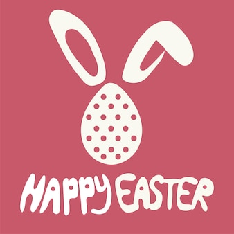 Colorful happy easter greeting card with rabbit, bunny and text on red background