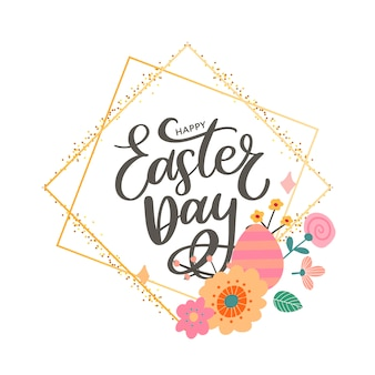 Colorful happy easter lettering