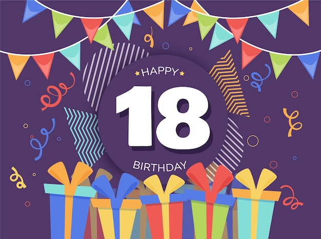 Colorful happy eighteenth birthday background