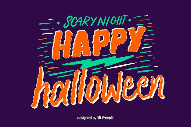 Colorful happy halloween lettering