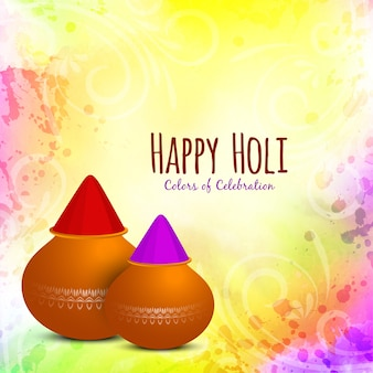 Colorful happy holi festival card with color pots