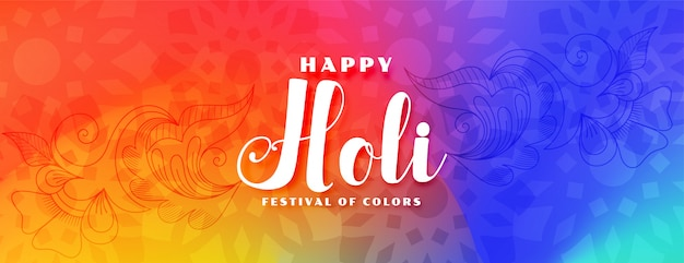 Colorful happy holi festival wishes banner